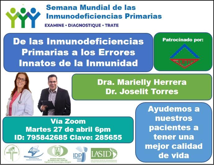 """Venezuela: Zoom conference """"De las Inmunodeficiencias Primarias a los Errores Innatos de la Inmunidad"""""""